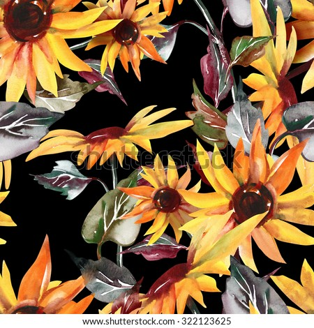 Sunflowers Seamless Pattern on Black Background
