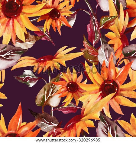 Sunflowers Seamless Pattern on Purple Background