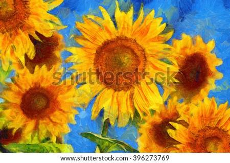 Sunflowers. Vincent van Gogh style. Digital imitation of post impressionism oil painting.