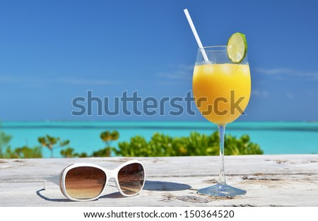 Sunglasses and orange juice