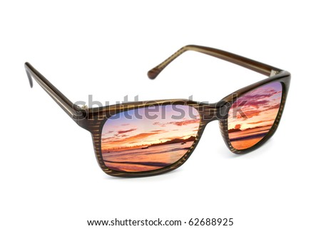 Sunglasses and seascape reflection isolated on white background