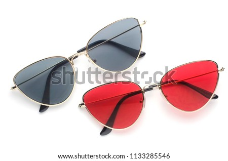sunglasses cat's eye in metal frame isolated on white #1133285546