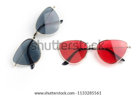 sunglasses cat's eye in metal frame isolated on white #1133285561