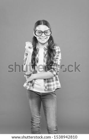 Sunglasses fancy accessory. Eyesight and eye health. Improve eyesight. Girl kid wear eyeglasses. Optics and eyesight treatment. Effective exercise eyes zooming. Child happy with good eyesight.