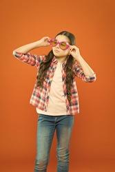 Sunglasses fancy accessory. Improve eyesight. Girl kid wear eyeglasses. Optics and eyesight treatment. Effective exercise eyes zooming. Child happy with good eyesight. Eyesight and eye health
