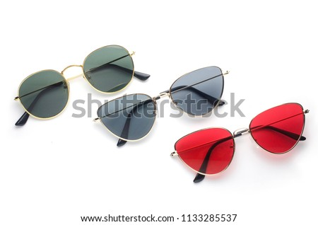 sunglasses in metal frame, trend set, isolated on white #1133285537