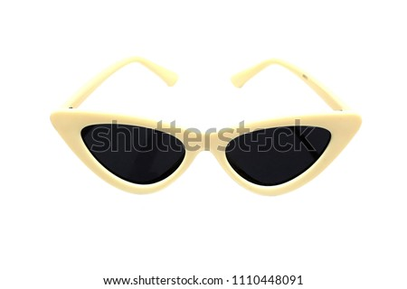 Sunglasses in the shape of cat eye, women's fashion on  white background.