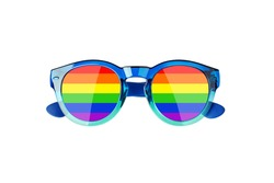 Sunglasses LGBTQ community flag color white background isolated close up, fashion glasses rainbow print, LGBT people pride symbol, gay, lesbian sign, human diversity concept, summer holidays accessory