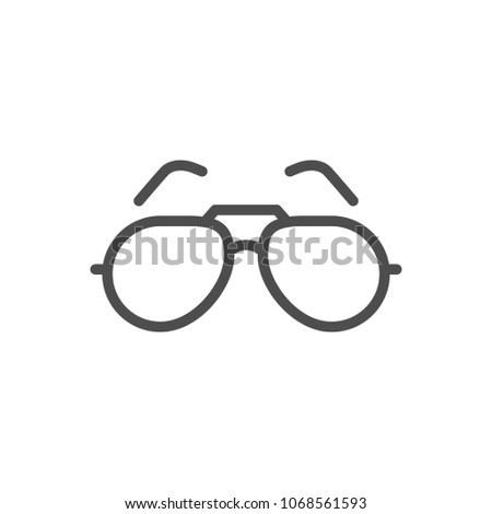Sunglasses line icon isolated on white