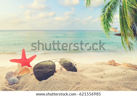 Sunglasses on sandy in seaside summer beach with starfish, shells, coral on sandbar and blur sea background. Concept of recreation in summertime on tropical beach.  vintage color tone styles. #621556985