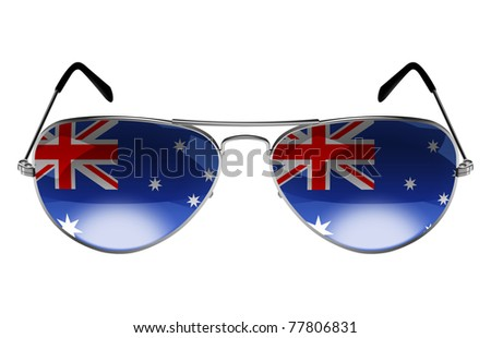Sunglasses with the flag of Australia as the reflection