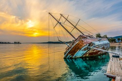 Sunked yacht during sunset in Didim