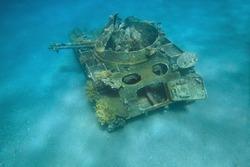 Sunken american light tank M-42 Duster, Aqaba, Red Sea, Jordan