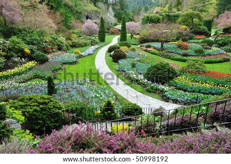 Sunken garden in spring, victoria, british columbia, canada