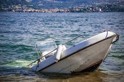 Sunken inflatable boat