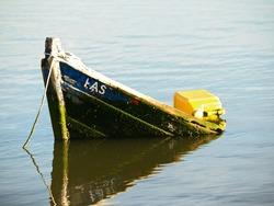 sunken old boat