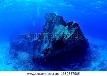 sunken ship and aircraft in saipan #1350557585