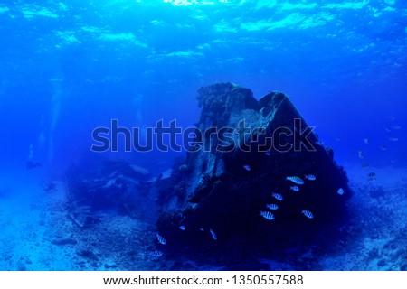 sunken ship and aircraft in saipan #1350557588