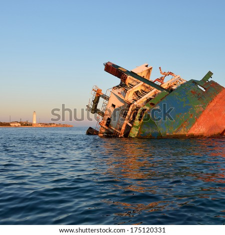 Sunken ship at sunset #175120331