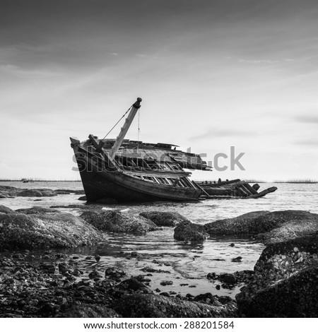 Sunken Ship Wreck in Gulf of Thailand, Vintage black and white