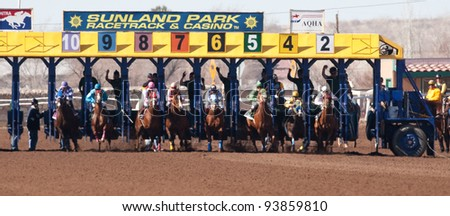 SUNLAND PARK, NM – JANUARY 29:  Quarter horses leave the starting gate during the Claiming Series on January 29, 2012 in Sunland Park, New Mexico.