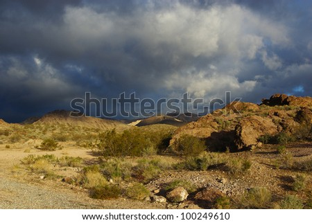 Sunlight and clouds in the desert, Nevada