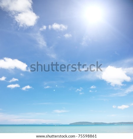 Sunlight, blue sky and tranquil sea - idyllic place