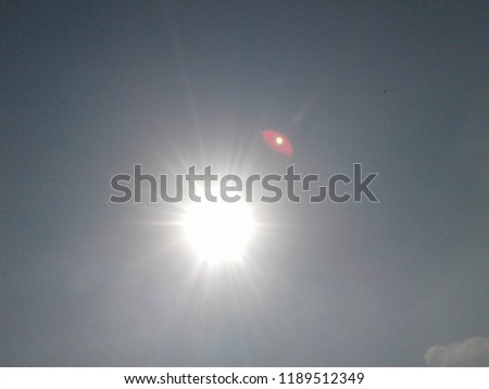 Sunlight image with full brightness. When you take pic of sun in day then you will find sun in this position. Near sun image you will find another son near original sun in the image.