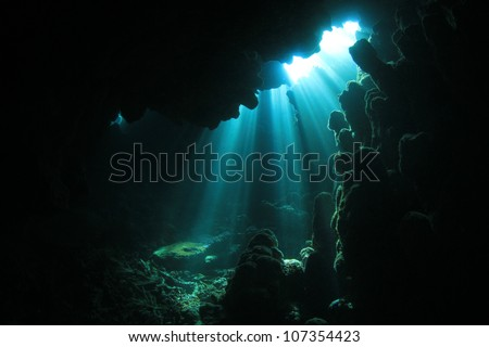 Sunlight in an underwater cave