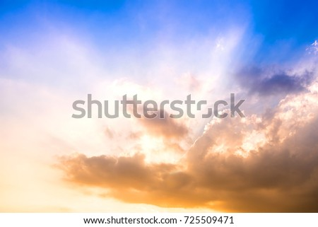 Sunlight In Evening before a Sunset with Clouds, Cloud in heaven, Dramatic look #725509471