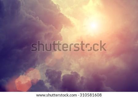 Sunlight in rain clouds
