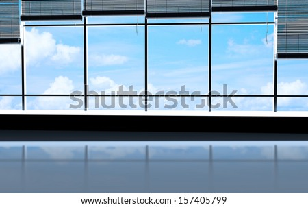 sunlight office and view city in window