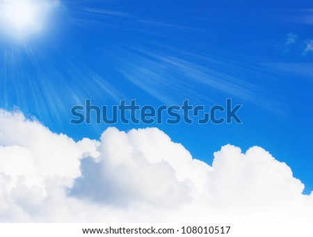 Sunlight on blue sky with big  white cloud