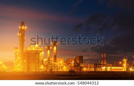 Sunlight Petrochemical industrial plant power station at sunset and Twilight sky view,Amata City Industrial Thailand