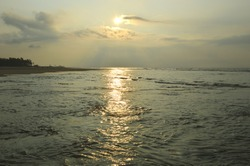 sunlight reflection on Bay of Bengal,India,Sagar island