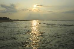 sunlight reflection on Bay of Bengal,India,Sagar island