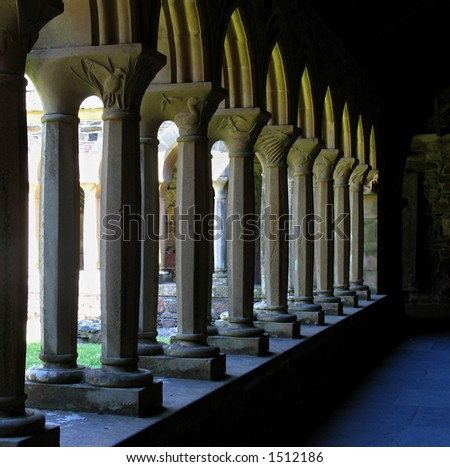 Sunlight through the cloisters at Iona Abbey in Scotland