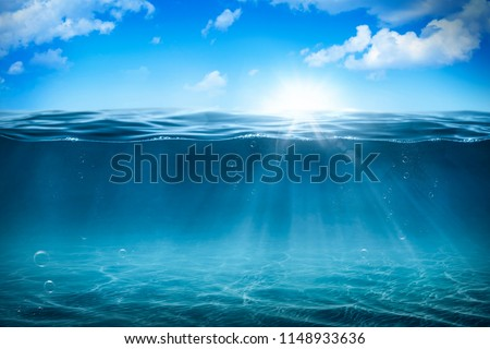 Sunlight with bubbles underwater