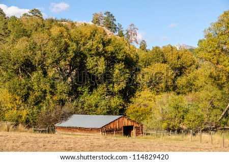 Sunlit barn or outbuilding on a lovely fall day in Montana