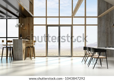 Sunlit loft interior with furniture, window view and daylight. Style and design concept. 3D Rendering