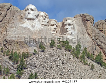 Sunlit Presidential faces at Mt. Rushmore National Memorial, Keystone, South Dakota