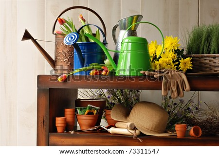 Sunlit still life with assorted gardening supplies, watering cans and fresh cut flowers.