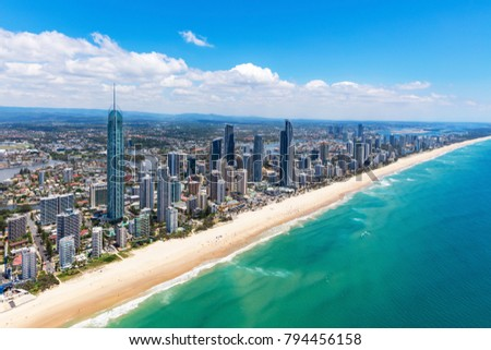 Sunny aerial view of Surfers Paradise looking inland on the Gold Coast, Queensland, Australia #794456158