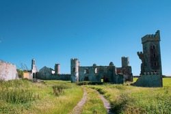 Sunny afternoon outside the ruins of Ardo Castle County Cork, Ireland