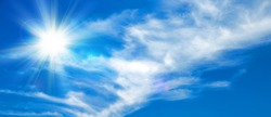 Sunny background, blue sky with white clouds and sun, 3D illustration.