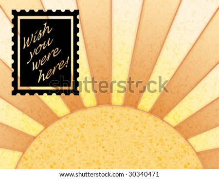"Sunny background illustration with a ""Wish you were here"" stamp, symbolizing sending postcards whilst on holiday"