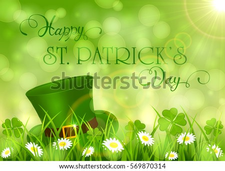 Sunny background with clover and hat of leprechaun in grass, holiday lettering Happy St. Patrick's Day, illustration.