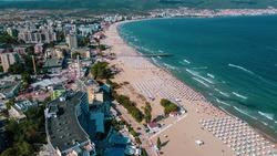 Sunny Beach, Burgas, Bulgaria - Aerial photo above tourist destination on the Bulgarian Black Sea coast. 2020