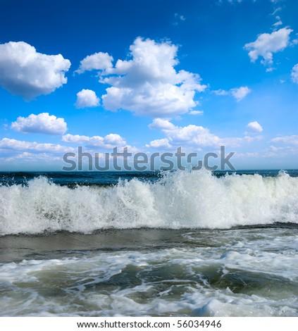 Sunny beach on coastline of atlantic ocean