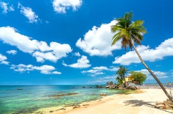 Sunny beach with coconut tree overlooking island and cloudy blue sky clean beachfront in island pearls Phu Quoc, Vietnam